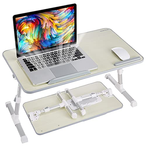 8AMTECH Lap Desk for Bed, Ajustable Laptop Table with Cooling Fan Foldable Laptop Stand Lap Tray Desk for Reading, Writing, Eating and Gaming in Bed Sofa Couch Floor