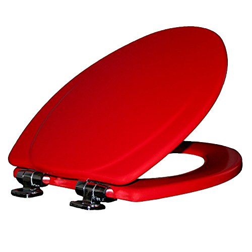 MAYFAIR 130CHSLB 613 Marion Toilet Seat with Chrome Hinges will Slow Close and Never Come Loose, ELONGATED, Durable Enameled Wood, Red