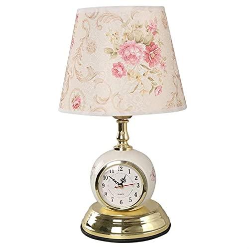 lámpara de mesa Lámpara de mesa de reloj moderna Lámparas de escritorio de tela Luminaria sala de estar dormitorio noche noche elegante cálido chapado 3 estilos Lámpara Noche ( Lampshade Color : A )