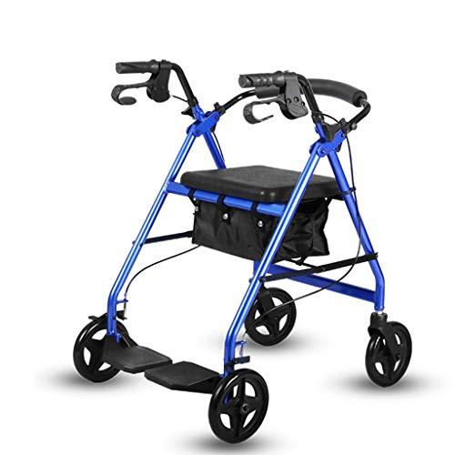 CHenXy Älterer Wanderer, Aluminiumlegierungs-Hilfstransport-gehendes Fahrzeug mit weichem Sitz-faltbarem hellem tragbarem Gurt mit Pedalen, Tragfähigkeit bis zu 100kg, Blau, Rot medizinische Walker