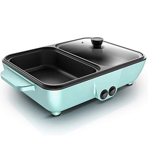 YFGQBCP Parrilla eléctrica Hotpot 2-en-1 -Portátil Multifuncional Hot Pot, de Gran Capacidad de los hogares Cacerola Antiadherente de Cocina eléctrica con (Color : Green)