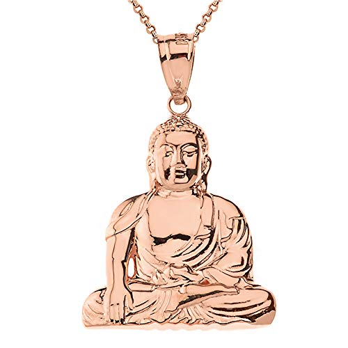 Solid 9 ct Gold Rose Gold Zen Buddhist Meditation Buddha Pendant Necklace Necklace (Available Chain Length 16'- 18'- 20'- 22') A