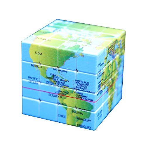 """4x4 Speed Cube World Map Design Magic Cube Puzzle,IQ Games Puzzles Relief Effect Kids Adult Toys,6.2cm/2.4"""""""