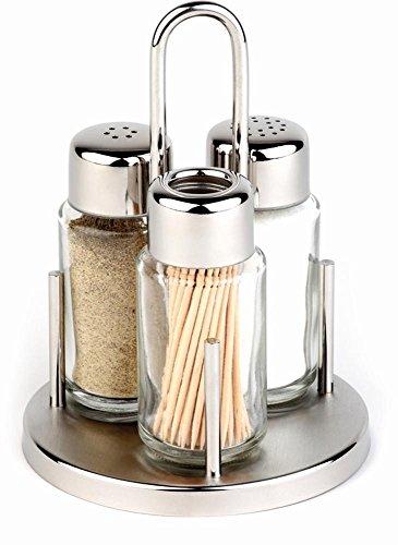 APS 40320 CLASSIC Salz und Pfeffer Menage, Set aus Edelstahl-Rahmen, 2 Glas Shakern, Glasspender für Zahnstocher, Ø 10,5 x 16 cm