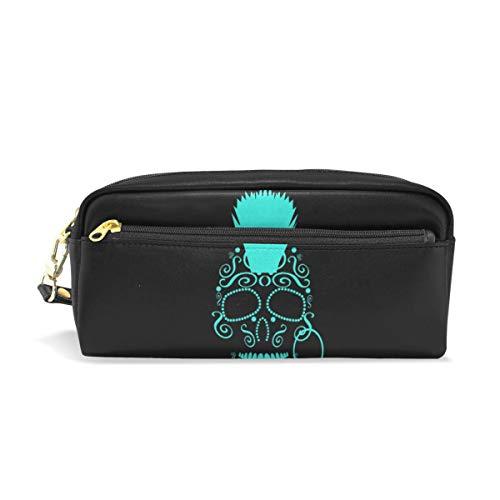 Kosmetische Schminktasche Happy Pencil Case Pen Briefpapier Tasche Blue Skulls Morgan Rock Pouch Geldbörse für Student Boy Girl Reißverschluss