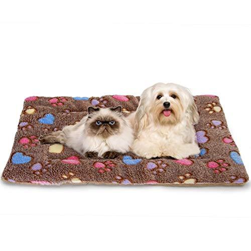 Nobleza Cama para Perros, colchoneta para Mascotas, Pata pequeña impresión paño Grueso y Suave Manta Suave Estera del Animal doméstico, Lavable marrón (S (50*70CM))