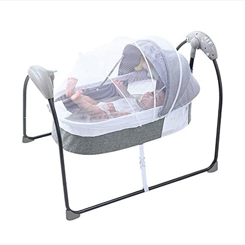 Babywippe Elektrisch Deluxe Wippe Baby Schaukelwippe Babywiege mit Fernbedienung, 5 Schaukel Geschwindigkeiten 30° Schaukel, 3 Timing-Stufen, Multifunktionales Tragbares Design (Grau)