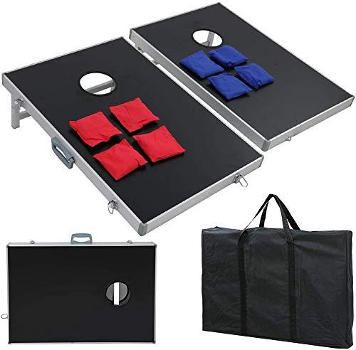 Nova Microdermabrasion 3ft X 2 ft Cornhole Game Set Aluminum Bean Bag Toss Platform Cornhole Boards W/Carrying Case for Tailgate Party Backyard BBQ