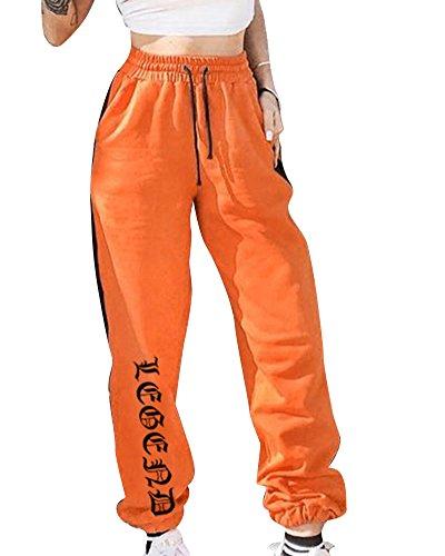 Damen Jogginghose Hohe Taille Aufdruck Hose Gummizug Stretch Jogginanzug Trainingshose Orange M