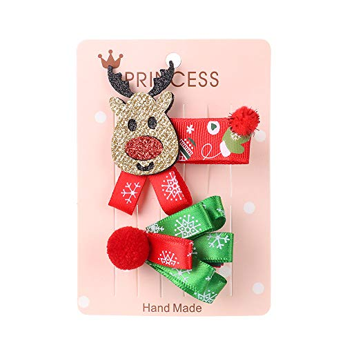 2Pcs/Set Christmas Gifts Snowflake Santa Claus Shiny Children Hairpins Barrette Christmas Hair Clips Hair Accessories(9)