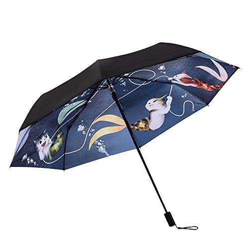 IBLUELOVER Sonnenschirm, UV-Schutz 50+, winddichter Sonnenschirm, faltbar, tragbar, für Reisen, Strand a
