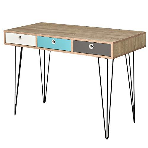 HOMCOM Mesa de Escritorio para Oficina Estudio Mueble para Recibidor Consola con 3 Cajones Gran Espacio Estilo Nórdico 110x50x77,5 cm Roble