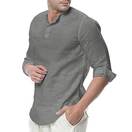 Chemise FNKDOR Hommes Bouffant Mélange de Coton Yoga T-Shirts Couleur Unie Trois Guarts Hauts Blouses(Gris foncé,L)