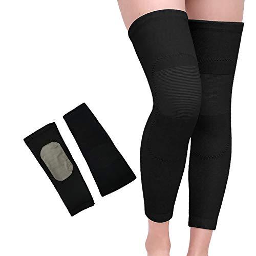 Unisex Plus Samt-Kniebandage, Stulpen, dicke elastische Knie, 1 Paar - Schwarz - Medium