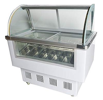 INTBUYING 220V 12 PAN Hard Ice Cream Showcase Gelato Dipping Cabinet Freezer Display Case