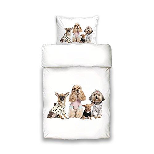 Schwanberg Bettwäsche Fashion Experts Animal Weiß Hunde Baumwolle Renforcé Softtouch Qualität, Größe:135x200 cm + 80x80 cm