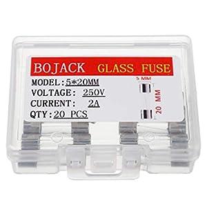 BOJACK F2AL250V 5x20 mm 2A 250V Fusibili rapido 2 Ampere 250 Volt 0,2 x 0,78 pollici Fusibili per tubo di vetro(confezione da 20 pezzi)