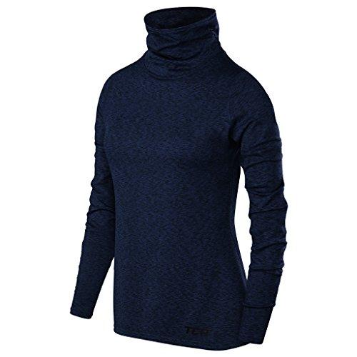 TCA Warm-up Damen Thermo-Laufshirt mit Rollkragen - Langarm - Dunkelblau, S