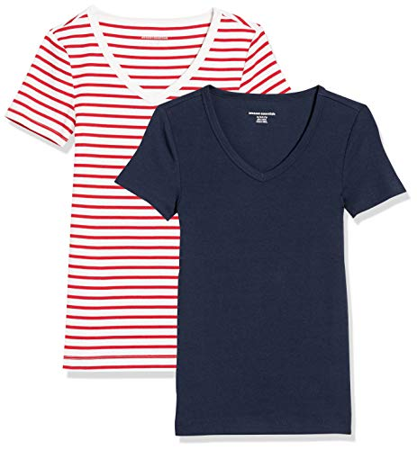 Amazon Essentials Damen fashion-t-shirts 2-pack Slim-fit Short-sleeve V-neck T-shirt, Rot/Weiß gestreift mit marineblauem Ringer/Marineblau, Medium (38-40)