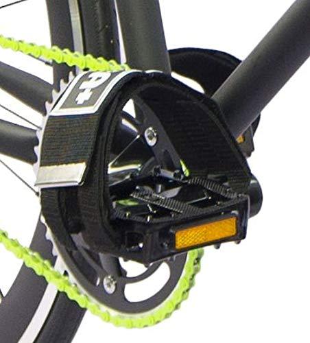 EXTRA+ Coppia Straps Nylon per Pedali Bicicletta Freestyle, Fixed, BMX, Single Speed, Scatto Fisso, Urban (Logo Fondo Nero)