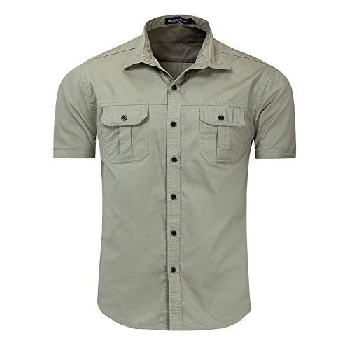 Camisa Militar de Carga al Aire Libre para Hombres Camisas de Manga Corta con Solapa de Color sólido Camisas clásicas de un Solo Pecho con Dos Bolsillos Tops básicos M