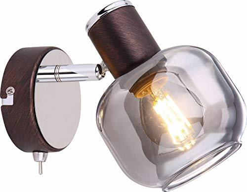 Lámpara de pared con interruptor, foco de pared para pasillo, lámpara de pared para salón (humo de cristal, foco de techo, aspecto de bronce, E14, móvil)