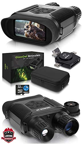 "Digital Night Vision Binoculars for 100% Darkness - Save Photos & Videos with Audio - 7x31 mm Infrared Spy Gear for Hunting & Surveillance - 4"" Large Screen & 1300ft Viewing Range – 32GB Card GlFT"