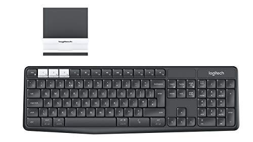 Logitech K375s Set aus Kabelloser Tastatur & Smartphone-Halterung, Bluetooth & 2.4 GHz Verbindung, Multi-Device & Easy Switch Feature, PC/Mac/Tablet/Smartphone, US QWERTY-Layout - Graphit/Weiß