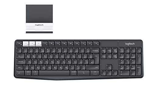 Logitech K375s Multi-Device Teclado Inalámbrico y Soporte para Windows, Apple, Android, Chrome, Disposición QWERTY US Internacional, Negro