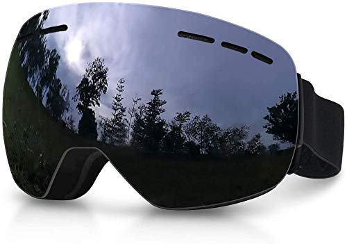 Hidewalker Gafas de Esquí Máscara Esqui Snowboard Nieve Espejo Anti Niebla Protección UV Gafas de Ventisca para Hombres Mujeres y jóvenes (Negro - Negro Lente)
