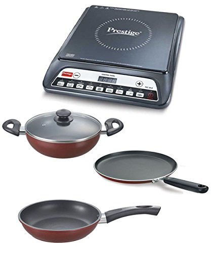 Prestige Induction Cooktop Pic 20.0 With Omega Deluxe Byk Set 3 Pc Set,Black
