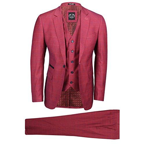 Xposed Männer 3 Stück Karierte Anzug Burnt rosa Weinlese Maßgeschneidert Blazer Weste Hosen[SUIT-A147-5-BURNT-PINK-44]