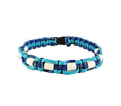 EM-Keramik Halsband für Hunde, verschiedene Größen wählbar, original EM-X-Keramik-Pipes, hellblau/dunkelblau gemustert