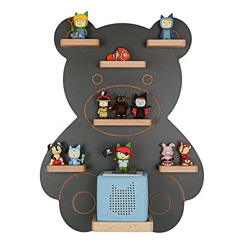 MR TEDDY BEAR Kinderregal Bär | Holzregal für die Toniebox und Tonies | Tonie-Regal hergestellt in der EU | Wandregal zum Spielen und Sammeln | Für Mädchen und Jungen | Anthrazit