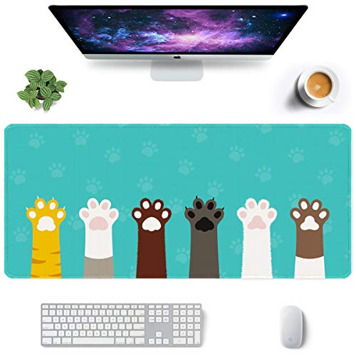 Auhoahsil Large Mouse Pad, Full Desk XXL Extended Gaming Mouse Pad 35' X 15', Waterproof Desk Mat with Stitched Edge, Non-Slip Laptop Computer Keyboard Mousepad for Office & Home, Cute Cat Paws Design
