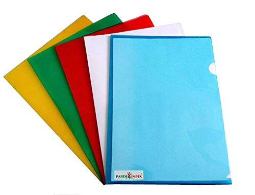 """PARTH IMPEX Clear Document Folder Copy Safe Project Pockets (Pack of 15) Plastic Paper Jacket Sleeves in Assorted Colors Scratch Resistant Paper Holders Organizer (W 8.7"""" X L 12.2"""")"""