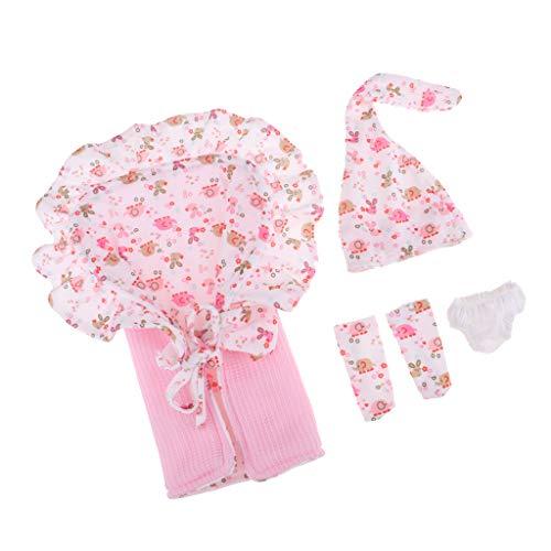 26-28cm Neugeborene Baby Puppe Kleidung Zubehör - Hut + Schlafsack Decke + Socken + Unterhose aus Baumwolle - Rosa