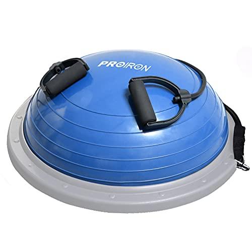 PROIRON Balance Trainer Ball Equilibrio Fitness Ø 60cm Bossu Media Pelota Equilibrio Soportar 300kg, Semiesfera Bozu Entrenamiento Bola con Inflador y Gomas, para Gimnasio Estabilidad Azul 🔥