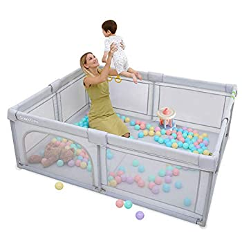 Baby Playpen Extra Large Playyard for Toddler - Reliable Kids Activity Center for Infant Sturdy Safety Playpen with Thickened Pipes+ Anti-Slip Suckers+ Super Soft Breathable Mesh Light Gray Large