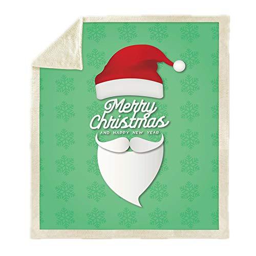 WNxiaobaozi deken, beddengoed in warme 3D druktoek, Kerstmis, muts en baard, pluizig zachte fleece deken, Sherpa flanel pluche deken voor het afdekken van slaapbank werpen