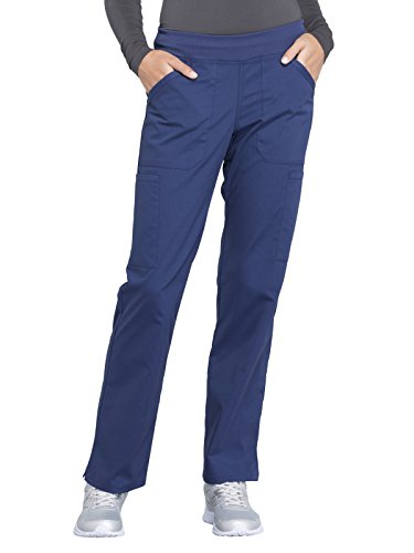 Cherokee Workwear Professionals Mid Rise Straight Leg Pull-on Cargo Scrub Pant, L, Navy