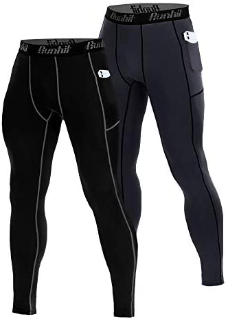 Runhit 2 Pack Compression Pants Men with Pockets Running Workout Tights Leggings Baselayer product image