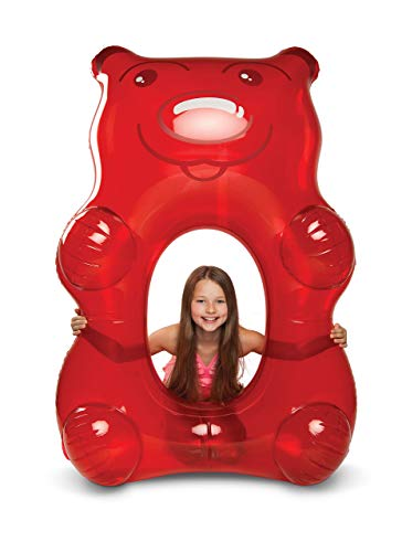 BigMouth Inc Giant Inflatable Candy Pool Float, Novelty Swim Tube, Emergency Patch Kit Included (Red Gummy Bear)