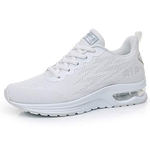AFFINEST Damen Laufschuhe Sportschuhe Air Atmungsaktiv Turnschuhe rutschfest Leichte Schuhe Stoßfest Outdoor Mesh Sneaker Weiß 39