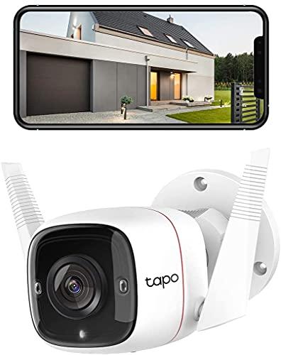 TP-Link Caméra de surveillance WiFi Extérieur Caméra IP haute résolution 3MP, étanche IP66, Vision nocturne avancée jusquà 30 m, détection de mouvement et alarme sonore(TAPO C310)