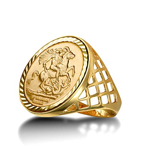 Jewelco London Men's Solid 9ct Yellow Gold St George Dragon Slayer Basket Half-Sovereign-Size Ring, Size X