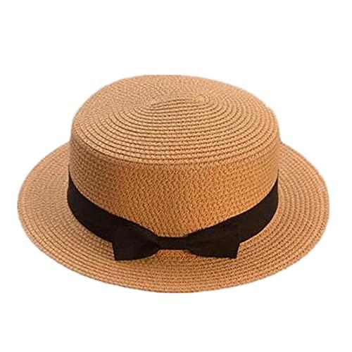 Sombreros de Verano para Mujer, Sombrero para el Sol, Playa, Moda para Mujer, con Lazo Plano, Sombreros Informales para Mujer, Sombrero de Paja para Mujer-Khaki-1-adult size56-58cm