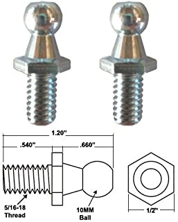GordonGlass 10MM Ball Stud with 5/16-18 threads for Gas Spring/Prop/Strut (2 Pack) | For Automotive Lift Supports