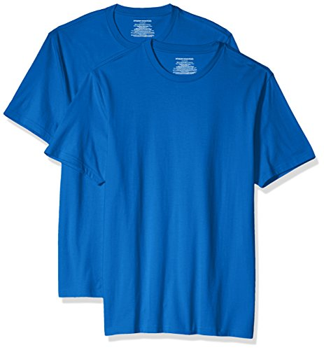 Amazon Essentials Men's 2-Pack Slim-Fit Short-Sleeve Crewneck T-Shirt, Imperial Blue, Large