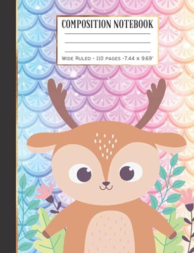 Composition Notebook: Wide Ruled Paper Notebook Journal   Cute little baby Deer Flowers   Soft Matte Lined Workbook for Girls Boys Kids Teens Students  Cute back to school supplies Gift Ideas.